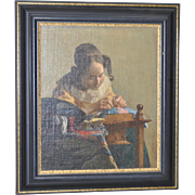 "19th c. ""The Lacemaker"" Oil on Board after Vermeer"