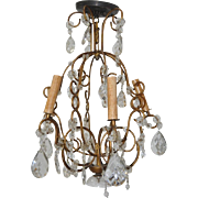 1940s Pressed Glass &  Gilded Wrought Iron Chandelier