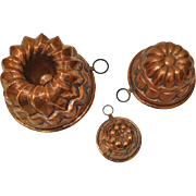 Set of Three Copper Bundt Molds