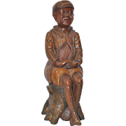 19th Century American Folk Art Hand Carved Seated Boy