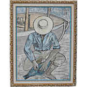 "Vintage Impressionist Oil Painting ""The Fisherman"" by Savy c.1968"