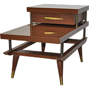 Klopstock & Samson Mid Century Modern Walnut Laminate End Table c.1950s