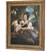 "Exquisite 19th Century Oil Painting ""Mother and Child"" In a Natural Setting c.1800s"