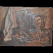 Vintage Cubist Still Life Oil Painting c.1960s