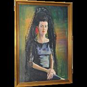 20th c. Oil Portrait of an Elaborately Veiled Woman