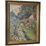 Flowering Garden Dell w/ Bench Oil Painting