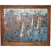 """Mid Century Modern """"Sailboats"""" Cubist Oil Painting c.1950s"""