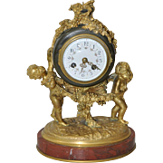 Auguste Moreau Bronze & Marble French Mantle Clock 19th Century