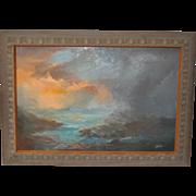 Mid Century Modern Seascape Sunset Oil Painting c.1958