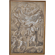 "Joseph Bergler Le Jeune ""Saint Agenouille and the Holy Shroud"" Original Old Master 18th C."