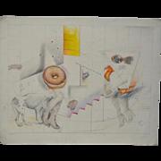 "Shari Lamanet La Londe ""Walking the  Dog"" Original Color Pencil on Paper c.1994"