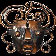 Francisco Rebajes (Brazilian) Hand Wrought Copper Brooch c.1960