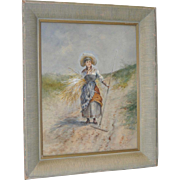"Elegant 19th C. Watercolor ""Seaside Grass Harvest"""