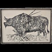 "Mid Modern Pen & Ink Sketch ""Portrait of History Guernica & Budapest"" c.1961"
