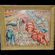 "Mid Century Modern ""Running of the Bulls"" Acrylic Painting c.1940s to 1950s"