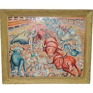 "Mid Century Modern ""Running of the Bulls"" Acrylic Painting c.1940s to 1950s"