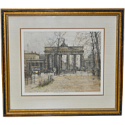 """Luigi Kasimir """"Brandenburg Gate"""" Color Etching / Estate Signed"""