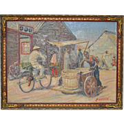 Vintage Chinese Village Oil Painting