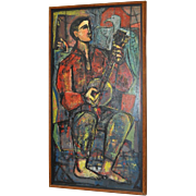 Vintage Banjo Player w/ Eagle Oil Painting 1940s to 1950s