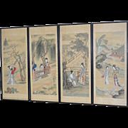 Set of Four Vintage Japanese Paintings on Silk c.1930s