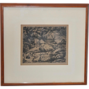 Walter Frame (1895-1957) Au Sable River (Michigan) Pencil Signed Etching c.1930s
