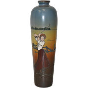 "Weller Dickensware Vase ""Female Golfer"" c.1900"