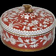 Cloisonne Round Box w/ Lid & Foo Dog Topper c.1920s