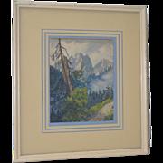 Sierra Mountain Landscape Watercolor by W.F. Jackson c.1910