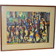 Fine Vintage Abstract Acrylic Painting c.1970s