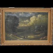 19th C. Country Landscape w/ Cows & Figure