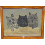 """Early 20th C. """"Three Scottie Dogs"""" Pastel Painting"""