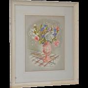 Lucile Blanch (1895-1981) Pastel Floral Still Life c.1940s