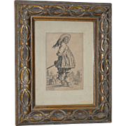 "Jacques Callot ""The Musketeer"" Engravnig from the Les Nobles Series 18th to 19th C."