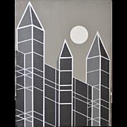 Charles Hersey Vintage Cityscape Op Art c.1989