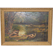 "Vintage Oil Painting ""Canoes on the River"" c.1930s"