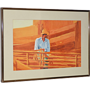 Vintage Cowboy Sunset Watercolor by Stansbury c.1988
