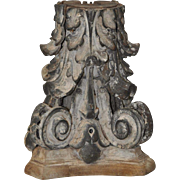 19th C. Cast Iron & Wood Corinthian Column Capital