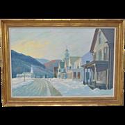 """Lee Winslow Court (1903-1992) """"Townshend, Vermont"""" Winter Landscape c.1950"""