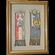 Pair of Framed Tin & Enamel Junior Order Ribbons c.1930s