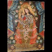 """Vintage Mexican Retablo """"Mary & Baby Jesus"""" c.1960s"""