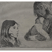 Raphael Soyer (1899-1987) Pencil Signed Etching c.1985