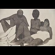 """Serge Hollerbach (b.1923) """"Sunbathers"""" Etching w/ Aquatint c.1985"""