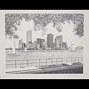"Delbert Duchein Lithograph ""Manhattan Skyline"" from Brooklyn Heights Promenade c.1980"