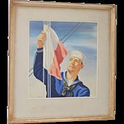 "Warren Sheppard (1858-1937) ""Sailor Raising the Flag"" Watercolor c.1926"