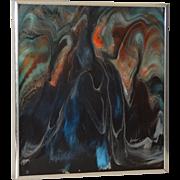 Vintage Mid Modern Acrylic on Panel by Nicholas Mirandon c.1979