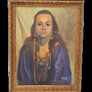 Vintage Oil Portrait by Dorothy Ramsay c.1970s