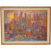 Mid Century Modern Abstract Cityscape by Newman c.1961
