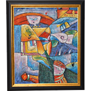 """Colorful Figural Abstract Oil Painting """" The Girl w/ Blue Eyes"""" c.1980s"""