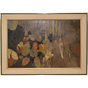 Mid Modern Abstract House Plant Oil Painting c.1970