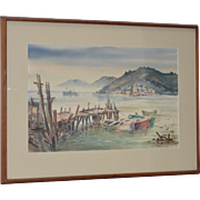 Vintage Sausalito from Belvedere Watercolor c.1960s